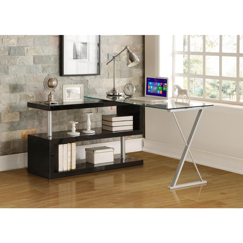 acme furniture buck 2 piece clear glass and black office suite 92366 the home depot