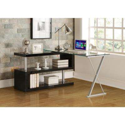 office furniture glass. buck 2piece clear glass and black office suite furniture a