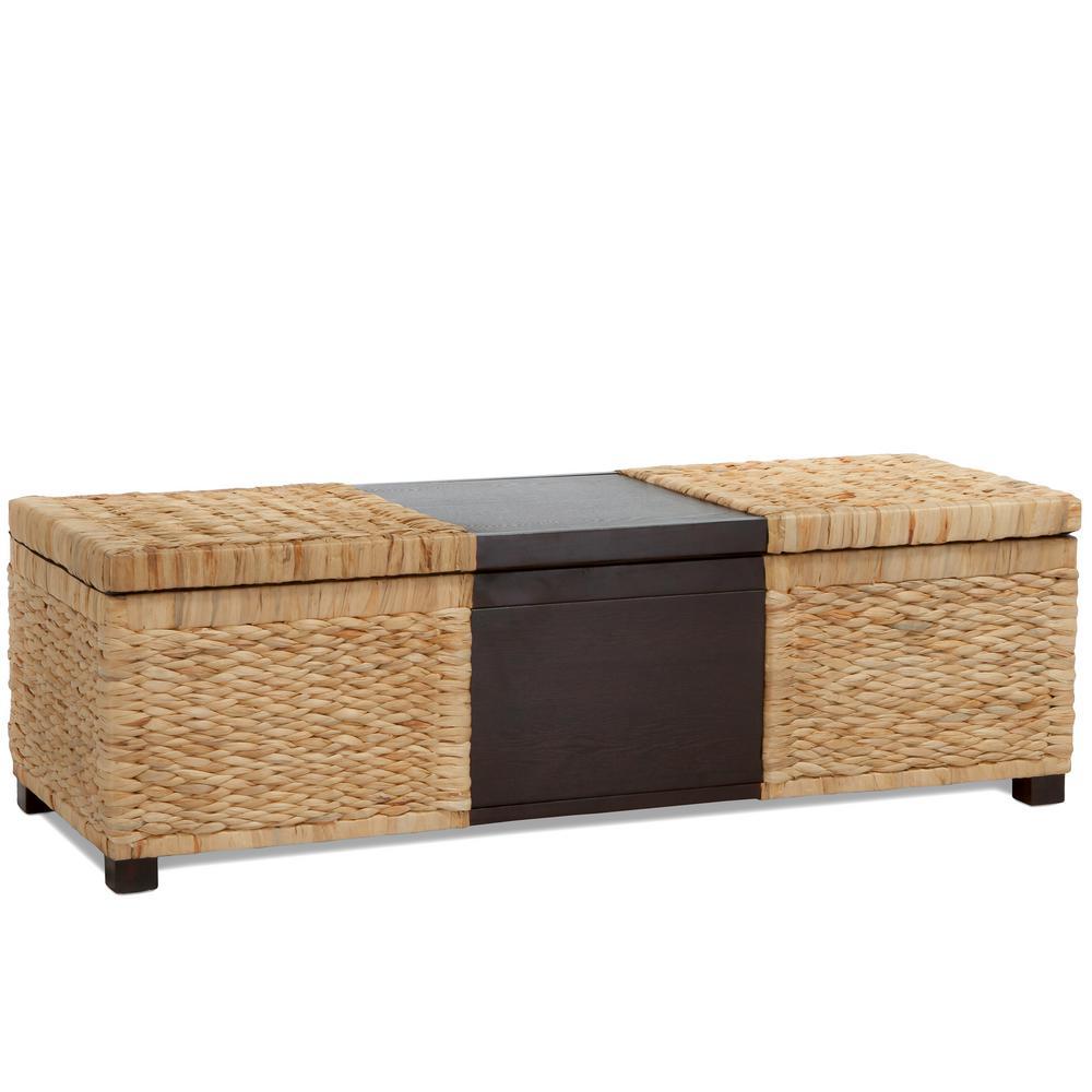 Rinaldi Two-Tone Natural Rattan and Brown Wood Storage Bench