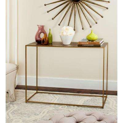Risa Antique Brass Console Table