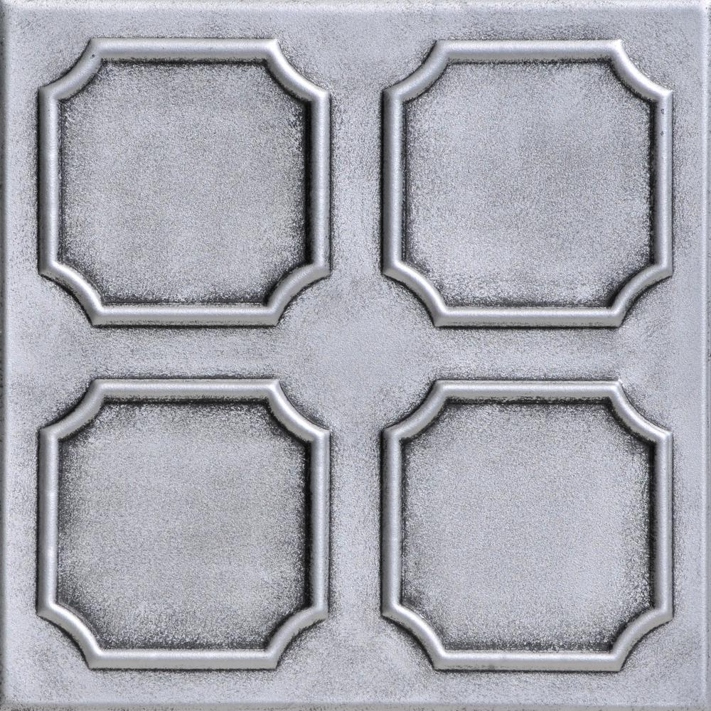 Bostonian 1.6 ft. x 1.6 ft. Foam Glue-up Ceiling Tile in Antique Silver