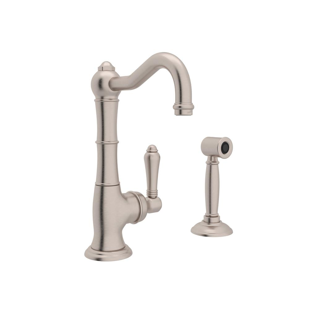ROHL Country Single-Handle Standard Kitchen Faucet with Side Sprayer in  Satin Nickel