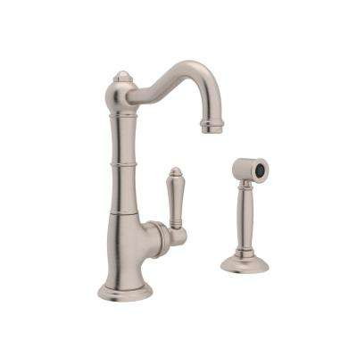 Country Single-Handle Standard Kitchen Faucet with Side Sprayer in Satin Nickel