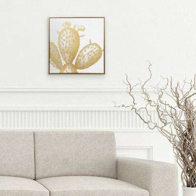 18 H x 18 W 'Gold Cactus' by Wynwood Studio Printed Framed Canvas Wall Art