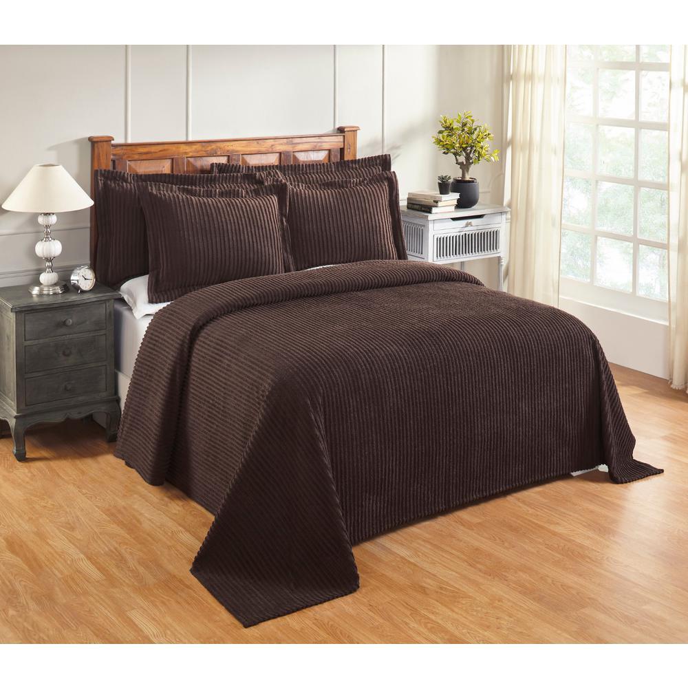 Aspen 81 in. x 110 in. Chocolate Twin Bedspread