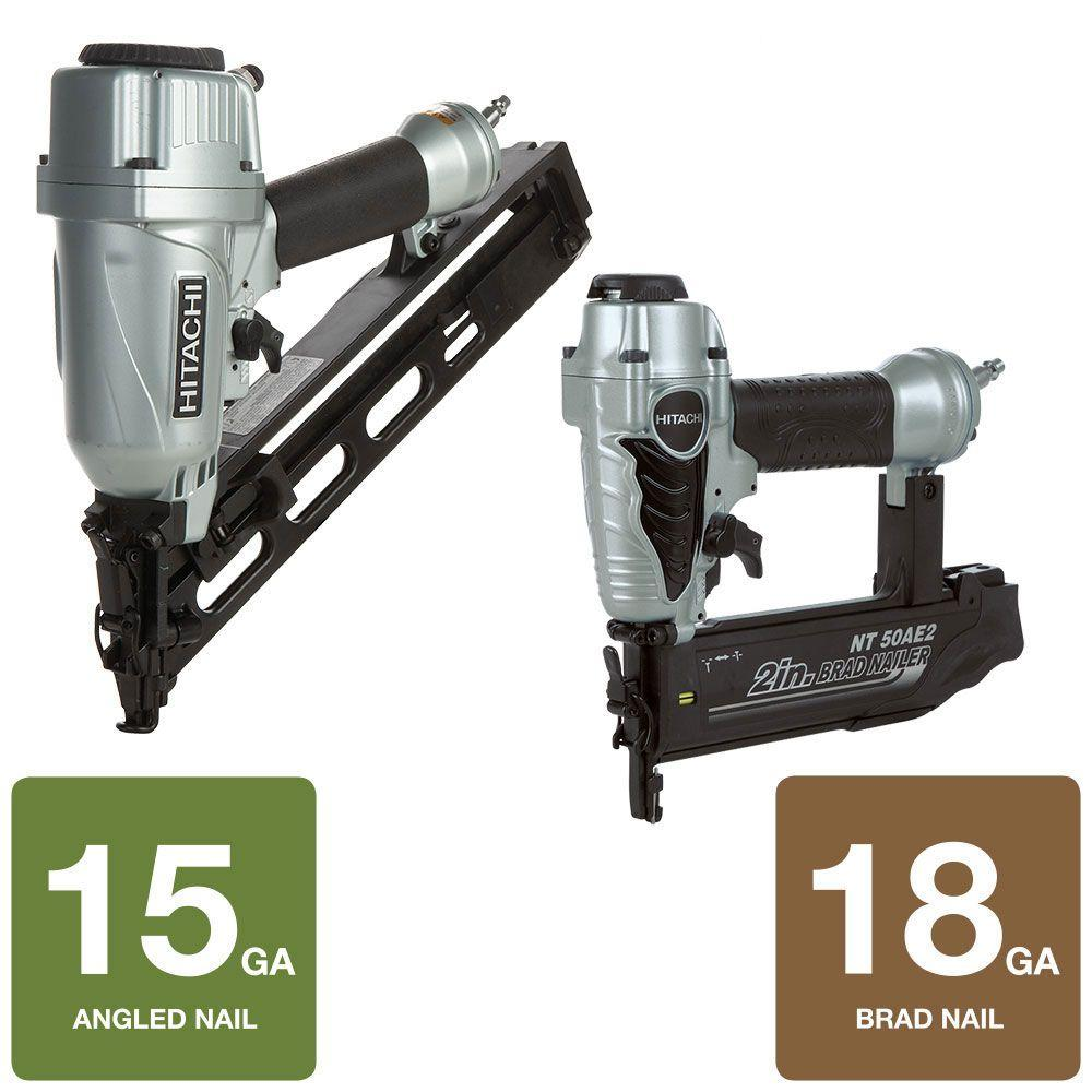 Hitachi 2-Tool 2.5 in. x 15-Gauge Angled Finish Nailer and 2 in. x 18-Gauge Finish Nailer Kit