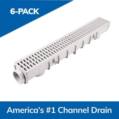 5 in. Pro Series Channel Drain Kit 5-1/2 in. x 39-3/8 in. Deep Channel, Gray Grates, End Caps/Outlet (6-Pack=19.7 ft.)