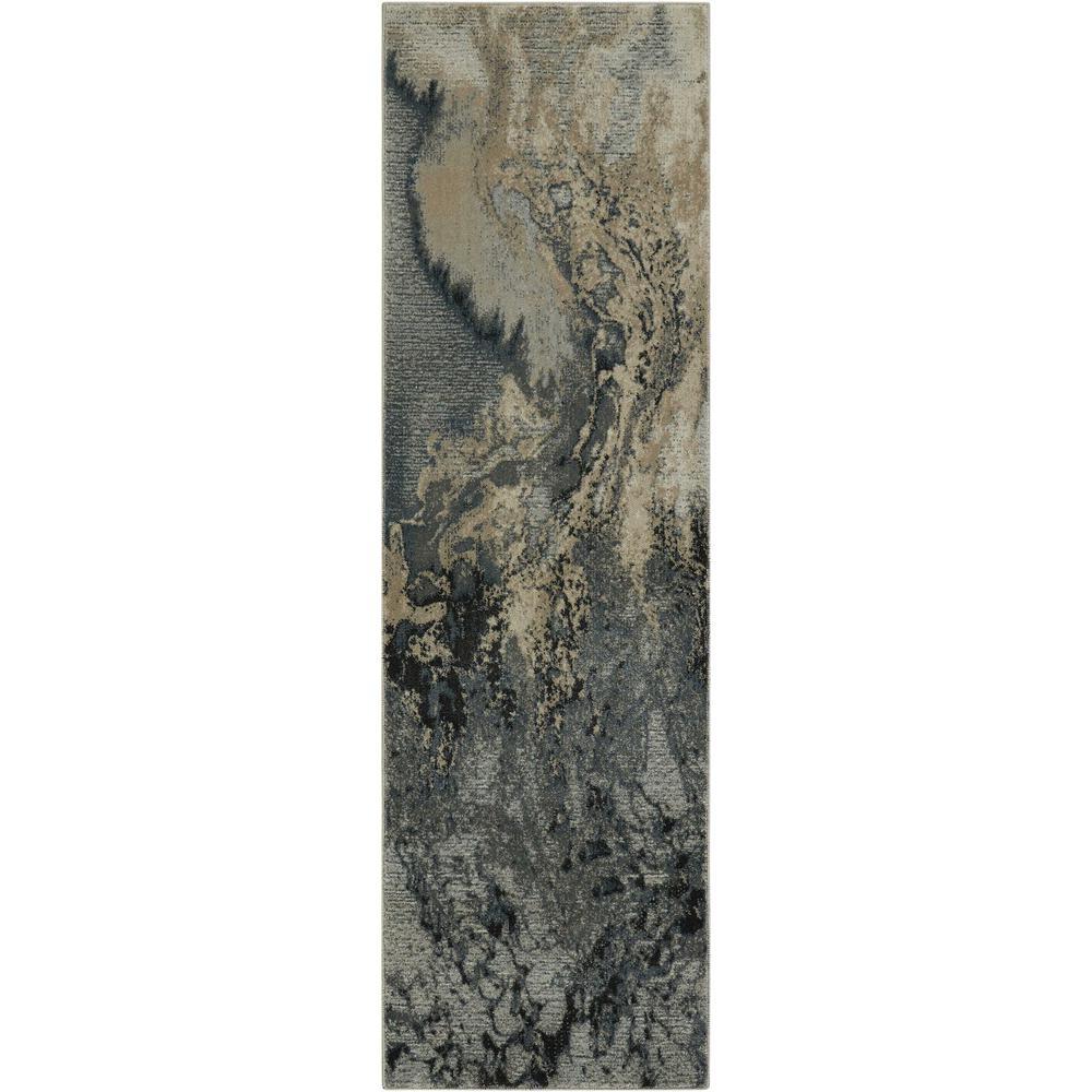 Nourison Maxell Grey 2 ft. x 8 ft. Runner Rug
