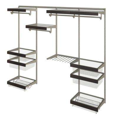 Closet Culture 16 in. x 96 in. W x 78 in. H Wire Closet System with 4 Shelves and Espresso Fascia