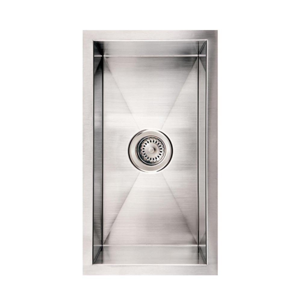 Whitehaus Collection Noahu0027s Collection Undermount Brushed Stainless Steel 12  In. Single Bowl Kitchen Sink WINEHAUS BSS   The Home Depot
