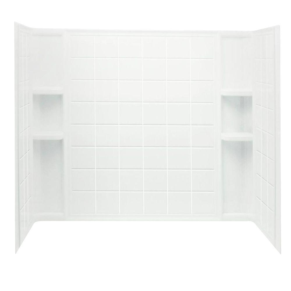 STERLING Ensemble Tile 60 in. x 32 in. x 55-1/4 in. 3-piece Direct-to-Stud Tub/Shower Wall Set in White