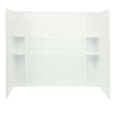 Ensemble Tile 60 in. x 32 in. x 55-1/4 in. 3-piece Direct-to-Stud Tub/Shower Wall Set in White