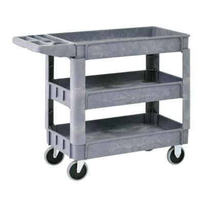 Heavy Duty 40 in. x 17 in. 3-Shelf Utility Cart with 5 in. Casters