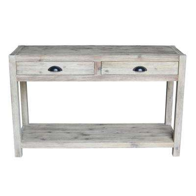 Wirebrushed Sandy Gray Acacia Wood Console Table