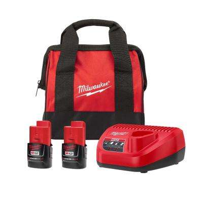 M12 12-Volt Lithium-Ion Starter Kit with Two 2.0 Ah Battery Packs and Charger