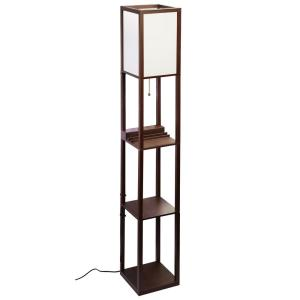 Mdf Brown Shelf Floor Lamp With Ivory