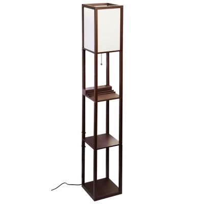 63 in. MDF Brown Shelf Floor Lamp with Ivory Plastic Lamp Shade