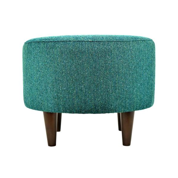 MJL Furniture Designs Sophia Text2 Olivia Teal Round Upholstered Ottoman