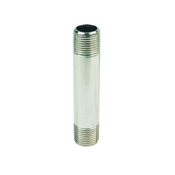 1/2 in. MIP x 4 in. Brass Pipe Nipple in Satin Nickel