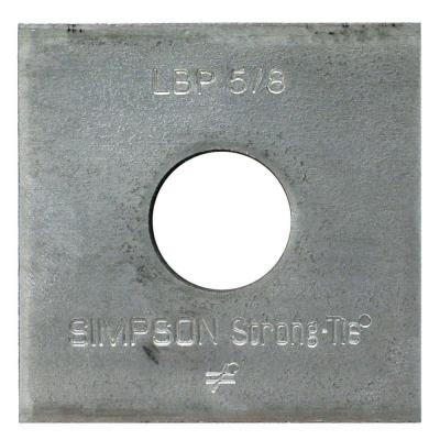 LBP 2 in. x 2 in. Galvanized Bearing Plate with 5/8 in. Bolt Dia.