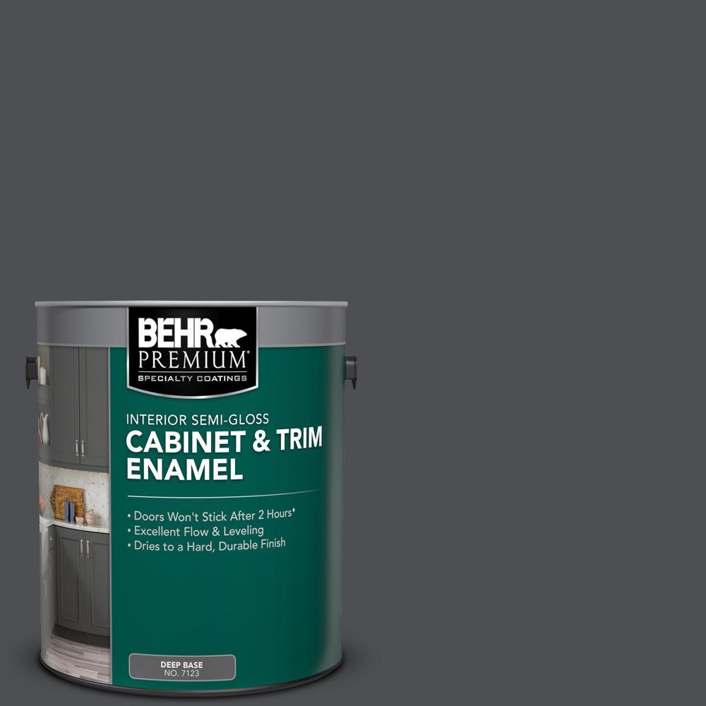 BEHR Premium 1 gal. #PPU26-01 Satin Black Semi-Gloss ...