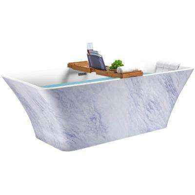 59 in. Acrylic Center Drain Rectangular Double Ended Flatbottom Freestanding Bathtub in Glossy Blue & White Marble
