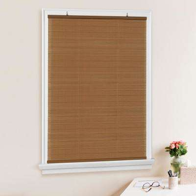 Solstice Woodtone Cordless Light-Filtering  Vinyl Roll-Up Blind 1/4 in. Slats  - 60 in. W x 72 in. L