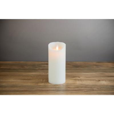 Ivory Flameless Moving Pillar Flame 7 in. Wax