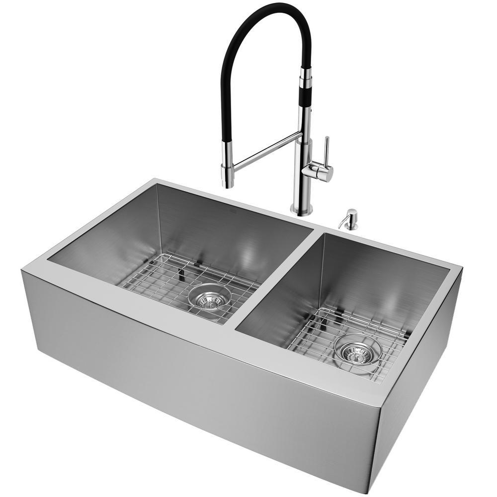 vigo farmhouse apron front stainless steel 36 in double bowl rh homedepot com chrome kitchen sink drain chrome kitchen sink faucet