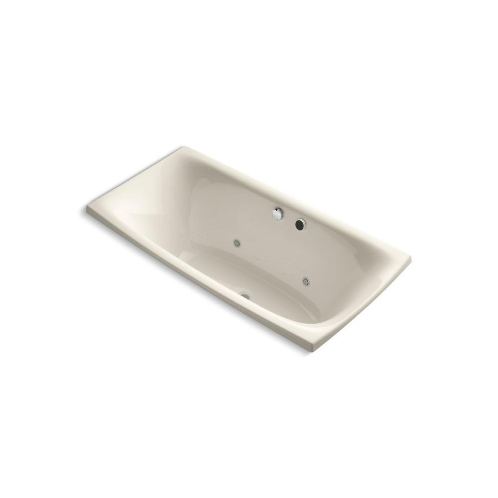 KOHLER Escale 6 ft. Acrylic Rectangular Drop-in Whirlpool Bathtub in Almond