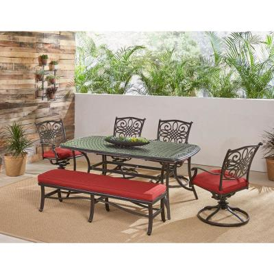 Traditions 6-Piece Aluminum Outdoor Patio Dining Set with Red Cushions