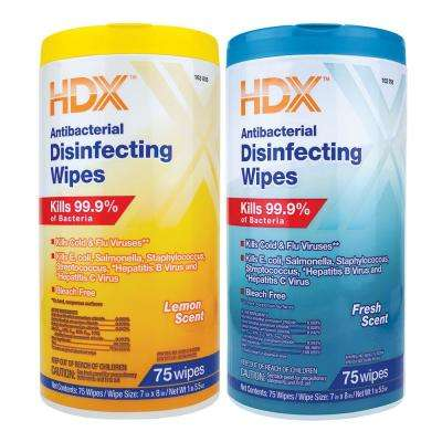75-Count Fresh Scent and Lemon Scent Antibacterial Disinfecting Wipes (2-Pack)