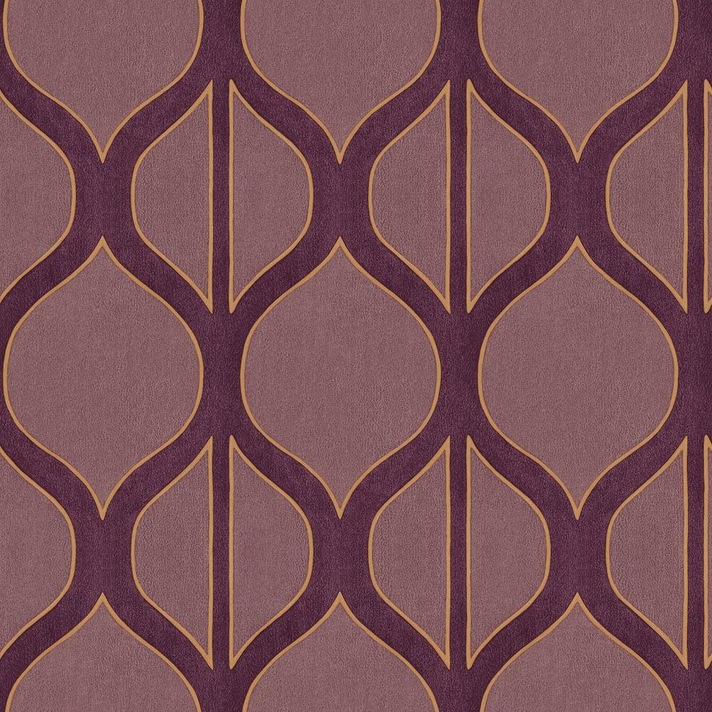 The Wallpaper Company 56 sq. ft. Lilac and Aubergine Modern Geometric Design Wallpaper