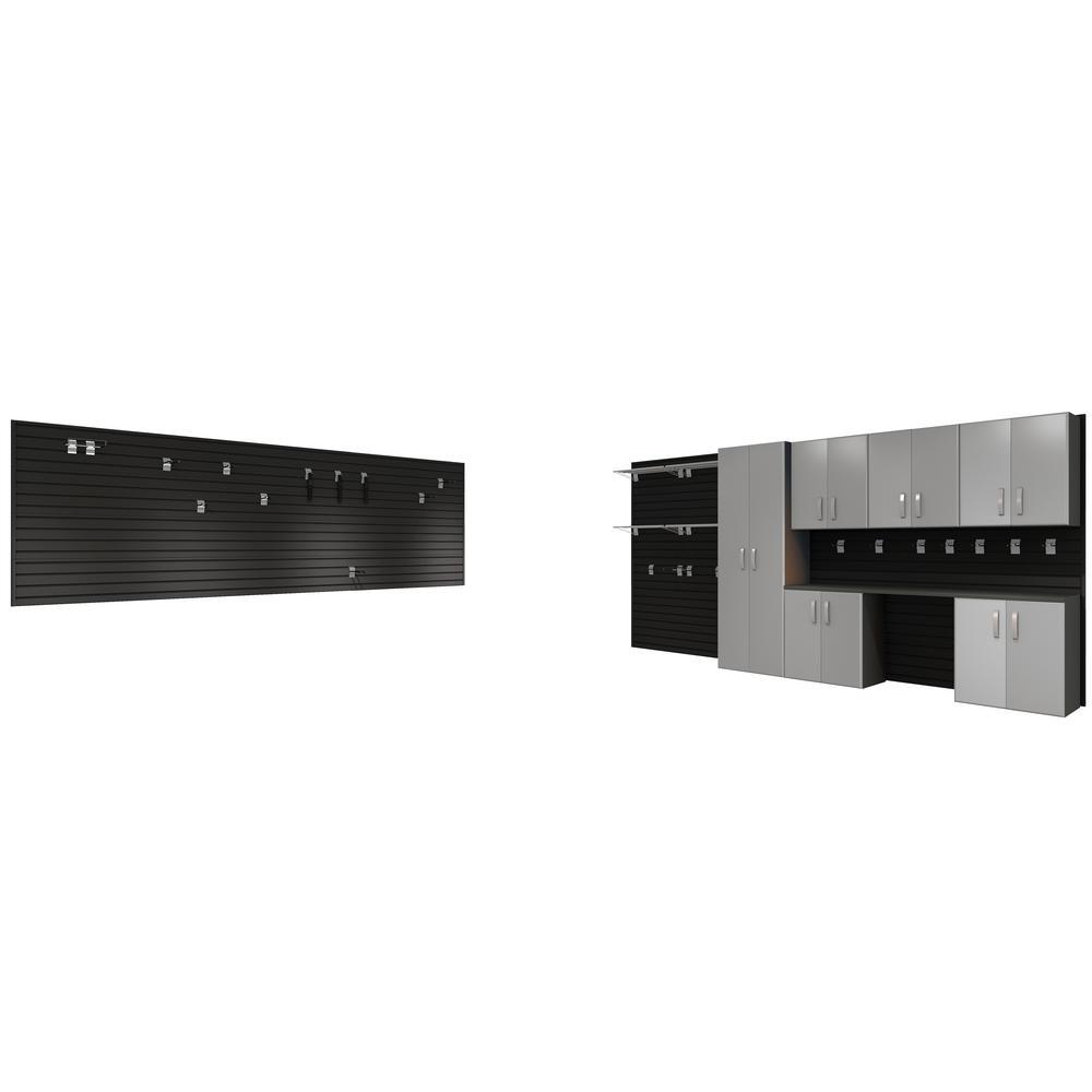 Modular Wall Mounted Garage Cabinet Storage Set with Workstation/Accessories - Black/Platinum Carbon Fiber (29-Piece)