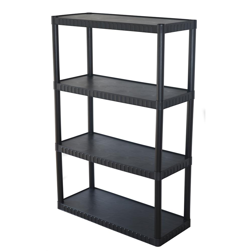 4-Tier Plastic Shelving Unit in Black