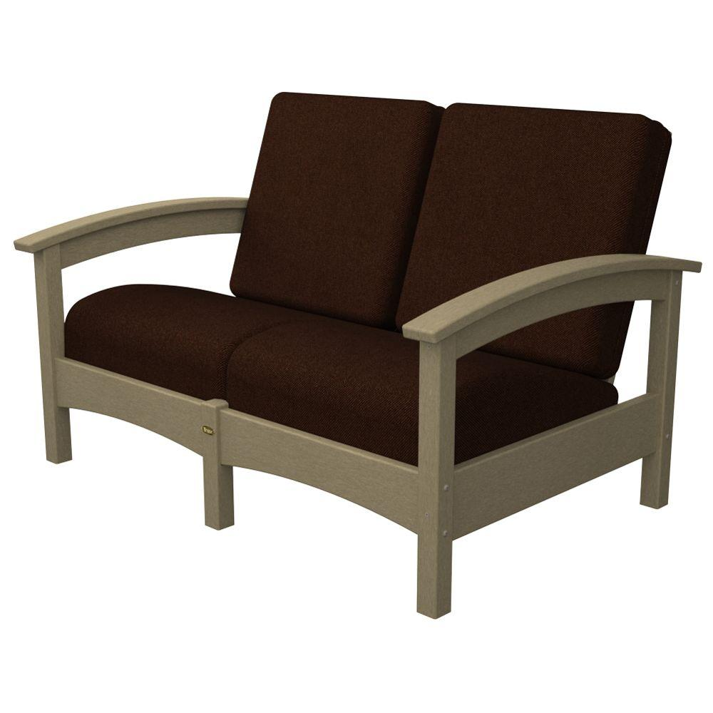Trex Outdoor Furniture Rockport Sand Castle Patio Settee with Bay Brown Cushions