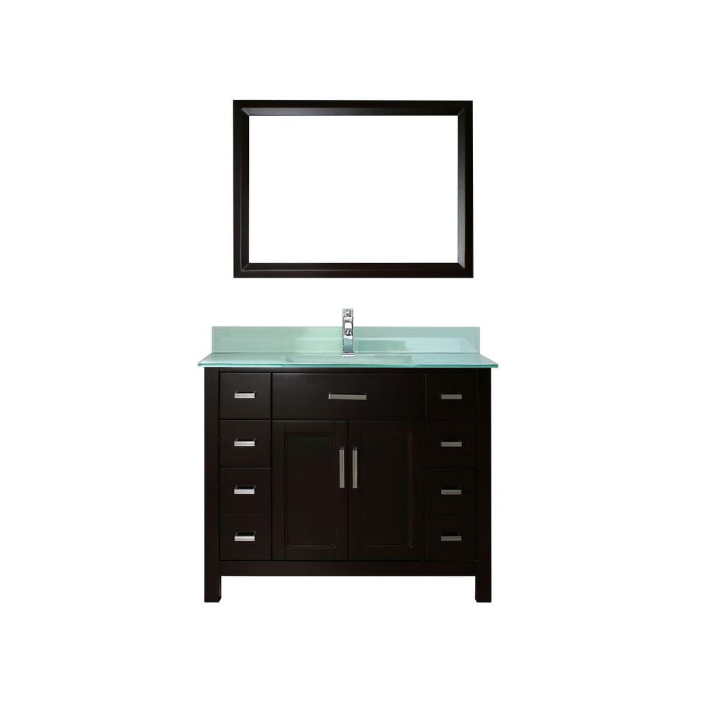 Studio Bathe Kelly 42 in. Vanity in Espresso with Glass Vanity Top in Mint and Mirror