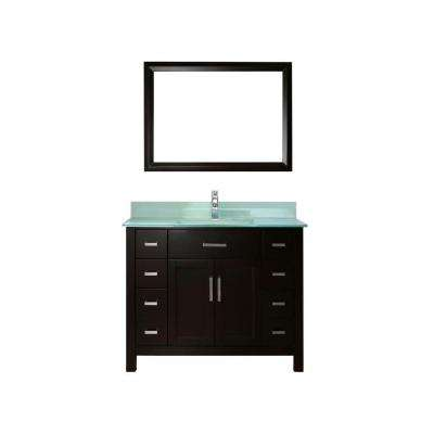Kelly 42 in. Vanity in Espresso with Glass Vanity Top in Mint and Mirror