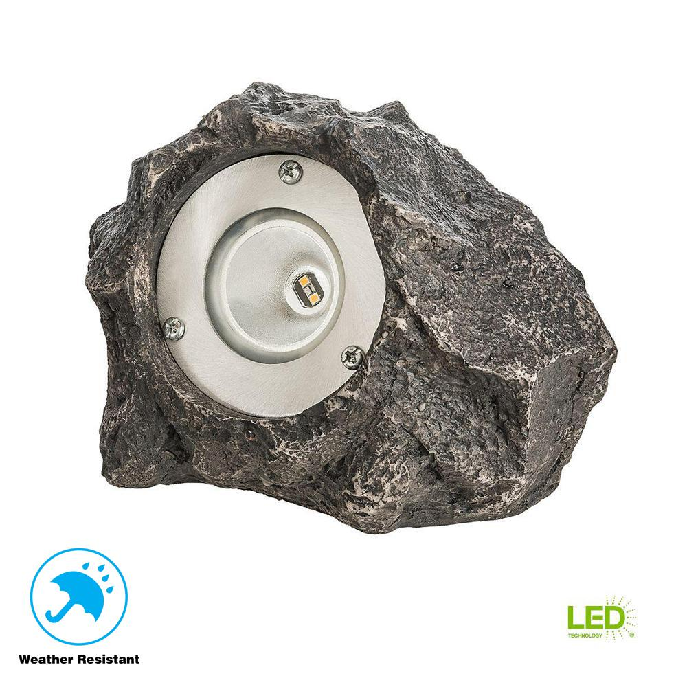 Hampton Bay Low Voltage Outdoor Integrated Led Polyresin Rock Lighting Landscape Brass On Wiring Lights Spot Light