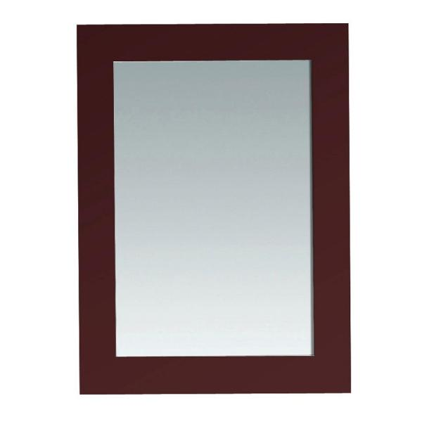 22 in. W x 30 in. H Framed Rectangular Bathroom Vanity Mirror in Cherry