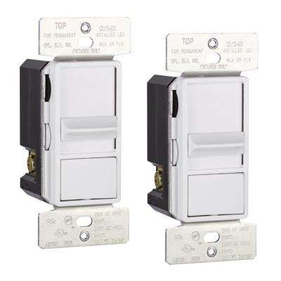 Skye AL Series 3-Way Single-Pole Sliding Dimmer Switch with Rapid Start Feature, White (2-Pack)