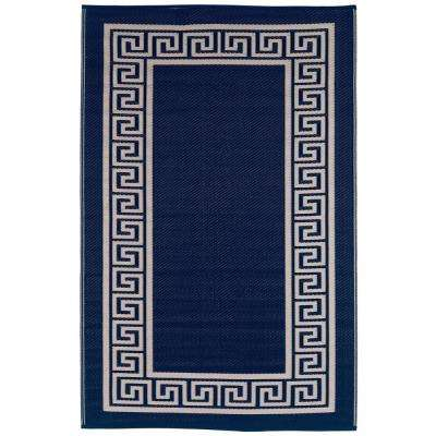 Athens Indoor/Outdoor Midnight Blue and Cream 4 ft. x 6 ft. Area Rug