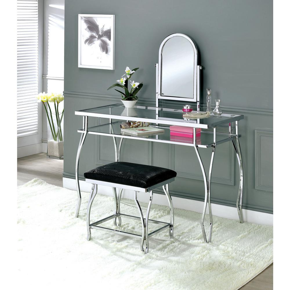 Kerrville Chrome Vanity Table With 1 Padded Crocodile Skin Textured Leatherette Seat Stool