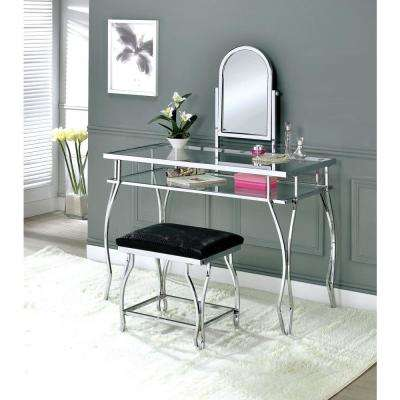 Kerrville Chrome Vanity Table with 1-Padded Crocodile Skin Textured Leatherette Seat Stool