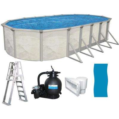16 ft. x 32 ft. Oval x 52 in. Deep Hard Sided Above Ground Pool Package  with 6 in. Top Rail