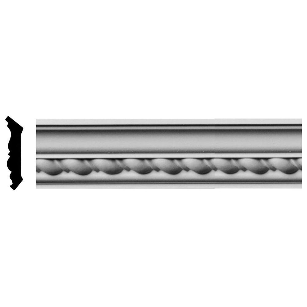 Ekena Millwork 1-7/8 in. x 1-7/8 in. x 96 in. Polyurethane Classic Roped Crown Moulding