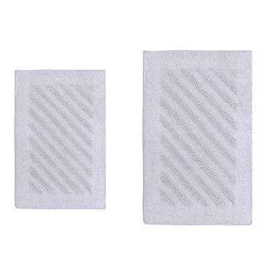 Shooting Star White 21 in. x 34 in. and 40 in. x 24 in. 2-Piece Reversible Bath Rug Set