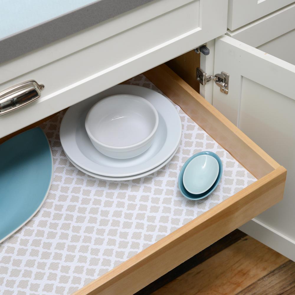 Con Tact Grip Prints Pale Gray Talisman, Kitchen Cabinet Shelf Liner Home Depot