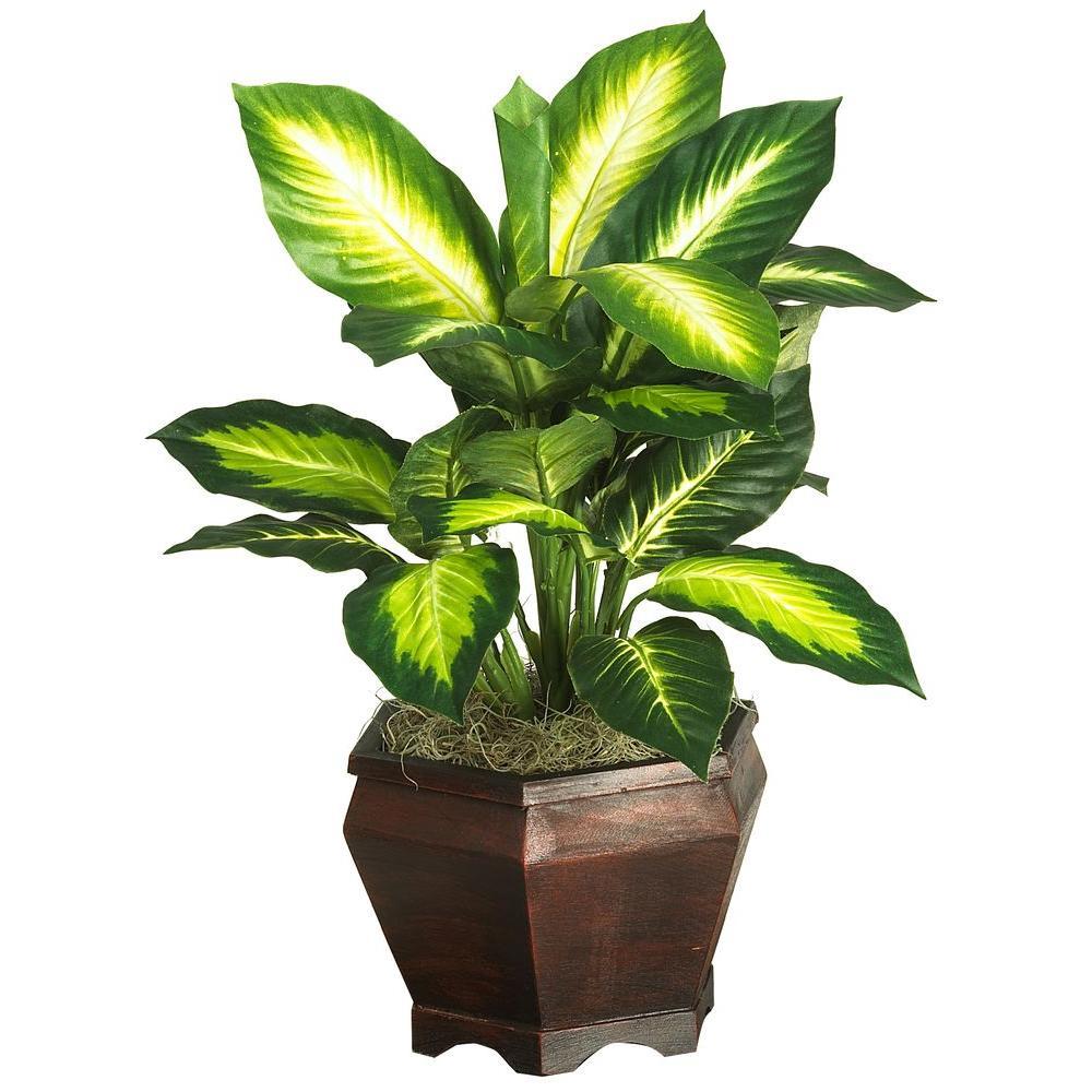 20 in. Golden Dieffenbachia Silk Plant with Wood Vase
