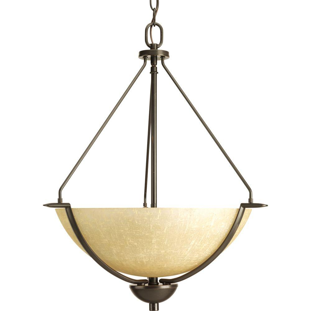 Progress Lighting Bravo Collection 3-Light Antique Bronze Foyer Pendant with Umber Linen Glass